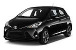 2018 Toyota Yaris Lounge 5 Door Hatchback angular front stock photos of front three quarter view