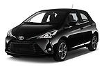 2018 Toyota Yaris Lounge 5 Door Hatchback angular front stock photos of front three quarter view