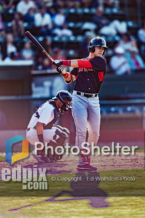 24 August 2019: Lowell Spinners outfielder Nick Decker in action against the Vermont Lake Monsters at Centennial Field in Burlington, Vermont. The Spinners rallied in the 9th inning to overcome a 2-1 deficit and defeat the Lake Monsters 3-2 in NY Penn League play. Mandatory Credit: Ed Wolfstein Photo *** RAW (NEF) Image File Available ***