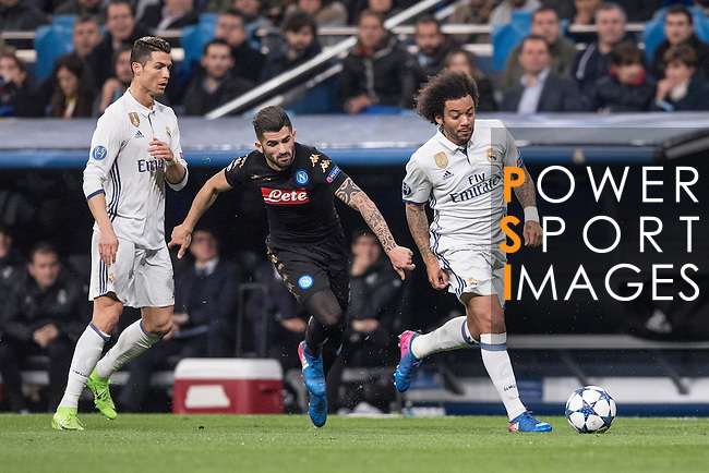 Cristiano Ronaldo of Real Madrid and Marcelo Vieira Da Silva of Real Madrid  during the match Real Madrid vs Napoli, part of the 2016-17 UEFA Champions League Round of 16 at the Santiago Bernabeu Stadium on 15 February 2017 in Madrid, Spain. Photo by Diego Gonzalez Souto / Power Sport Images