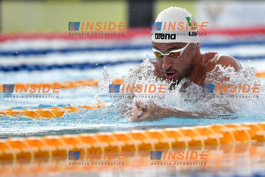 Felipe Lima of Brazil competes in the men 50m breaststroke <br /> during the 58th Sette Colli Trophy International Swimming Championships at Foro Italico in Rome, June 26th, 2021. Felipe Lima placed second.