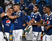 BOGOTA - COLOMBIA - 01 – 04 - 2018: Ayron del Valle (Izq.), jugador de Millonarios, celebra con su compañero de equipo después de anotar el tercer gol de su equipo, durante partido de la fecha 12 entre Millonarios y Atletico Bucaramanga, por la Liga Aguila I 2018, jugado en el estadio Nemesio Camacho El Campin de la ciudad de Bogota. / Ayron del Valle (L), player of Millonarios celebrates with his teammate after scoring the third goal of his team, during a match of the 12th date between Millonarios and Atletico Bucaramanga,  for the Liga Aguila I 2018 played at the Nemesio Camacho El Campin Stadium in Bogota city, Photo: VizzorImage / Luis Ramirez / Staff.