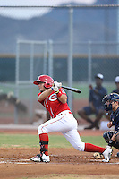 Alberti Chavez (7) of the AZL Reds bats during a game against the AZL Brewers at Cincinnati Reds Spring Training Complex on July 5, 2015 in Goodyear, Arizona. Reds defeated the Brewers, 9-4. (Larry Goren/Four Seam Images)