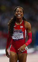 05 AUG 2012 - LONDON, GBR - Sanya Richards-Ross (USA) of the USA celebrates winning the women's 400m final during the London 2012 Olympic Games athletics in the Olympic Stadium at the Olympic Park in Stratford, London, Great Britain .(PHOTO (C) 2012 NIGEL FARROW)