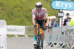 Wout Poels (NED) Bahrain Victorious loses the Polka Dot Jersey on the final climb of Luz-Ardiden during Stage 18 of the 2021 Tour de France, running 129.7km from Pau to Luz-Ardiden, France. 15th July 2021.  <br /> Picture: Colin Flockton   Cyclefile<br /> <br /> All photos usage must carry mandatory copyright credit (© Cyclefile   Colin Flockton)