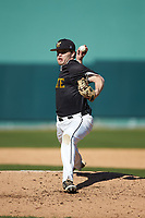 West Virginia State Yellow Jackets starting pitcher Jacob Bradley (2) in action against the Catawba Indians at Newman Park on February 9, 2020 in Salisbury, North Carolina. The Indians defeated the Yellow Jackets 15-9 in game one of a doubleheader.  (Brian Westerholt/Four Seam Images)