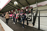 Salford City 2 FC United of Manchester 1, 15/07/2017. Moor Lane, Pre Season Friendly. FCUM fans returning the ball during the warm up at Salford City v FC United of Manchester in a pre season friendly at Moor Lane Salford. Photo by Paul Thompson.