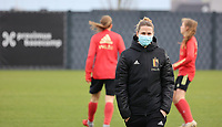 Coach Heleen Jacques pictured during the training session of the Belgian Women's National Team ahead of a friendly female soccer game between the national teams of Germany and Belgium , called the Red Flames in a pre - bid tournament called Three Nations One Goal with the national teams from Belgium , The Netherlands and Germany towards a bid for the hosting of the 2027 FIFA Women's World Cup ,on 19th of February 2021 at Proximus Basecamp. PHOTO: SEVIL OKTEM | SPORTPIX.BE