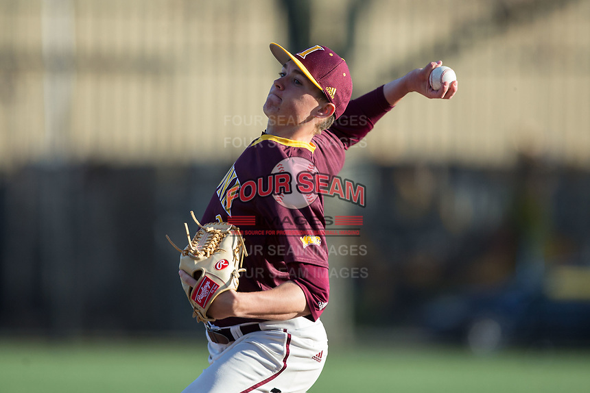 Iona Gaels starting pitcher Stephen Hansen (28) in action against the Rutgers Scarlet Knights at City Park on March 8, 2017 in New Rochelle, New York.  The Scarlet Knights defeated the Gaels 12-3.  (Brian Westerholt/Four Seam Images)