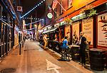 A street in Dublin, Ireland, on a warm Friday night in September