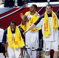 Andre IGUODALA (USA), Kevin LOVE (USA) celebrates during the quarter-final World championship basketball match against Russia in Istanbul, USA-Russia, Turkey on Thursday, Sep. 09, 2010..