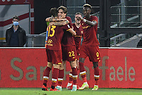 23rd September 2021;  Stadio Olimpicom, Roma, Italy; Serie A League Football, Roma versus Udinese; Tammy Abraham of AS Roma celebrates after scoring his goal for 1-0 in the 35th minute