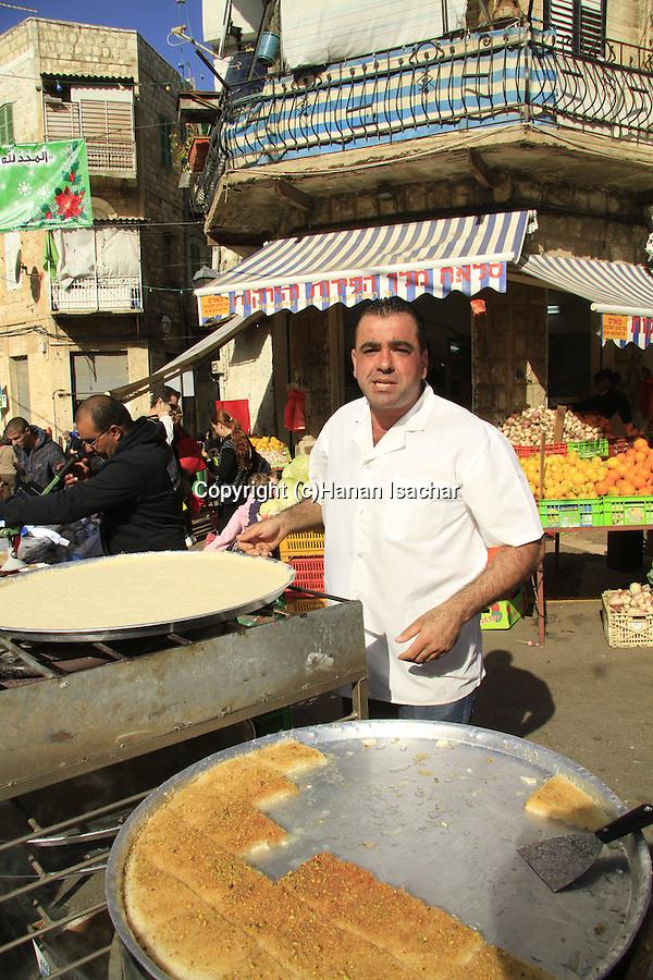 Israel, Haifa, a Knafeh maker in Wadi Nisnas