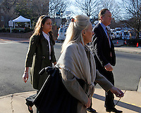 CHARLOTTESVILLE, VA - FEBRUARY 15: Family members for George Huguely walk to the Charlottesville Circuit courthouse for the George Huguely trial. Huguely was charged in the May 2010 death of his girlfriend Yeardley Love. She was a member of the Virginia women's lacrosse team. Huguely pleaded not guilty to first-degree murder. (Credit Image: © Andrew Shurtleff