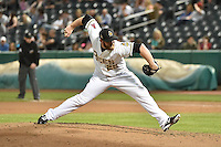 Salt Lake Bees relief pitcher Jeremy Berg (25) delivers a pitch to the plate against the Reno Aces at Smith's Ballpark on May 4, 2014 in Salt Lake City, Utah.  (Stephen Smith/Four Seam Images)