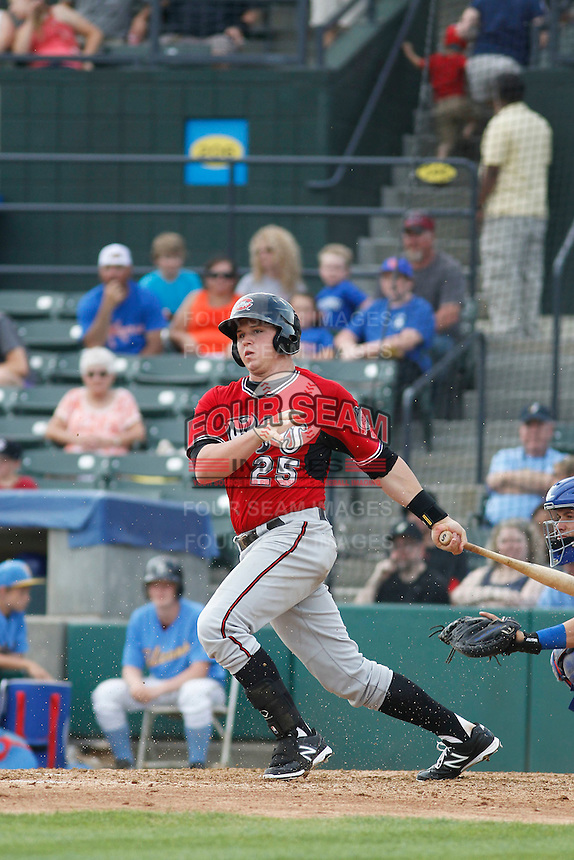 Carolina Mudcats infielder Jacob Schrader (25) at bat during game one of a doubleheader against the Myrtle Beach Pelicans at Ticketreturn.com Field at Pelicans Ballpark on June 6, 2015 in Myrtle Beach, South Carolina. Carolina defeated Myrtle Beach 1-0. (Robert Gurganus/Four Seam Images)