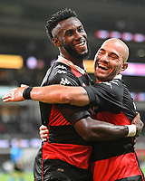 19th March 2021; Bankwest Stadium, Parramatta, New South Wales, Australia; A League Football, Western Sydney Wanderers versus Perth Glory; Bernie Ibini of Western Sydney Wanderers is congratulated by James Troisi of Western Sydney  but his goal is disallowed for offside