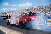 Jul 11, 2020; Clermont, Indiana, USA; NHRA funny car driver Alexis DeJoria during qualifying for the E3 Spark Plugs Nationals at Lucas Oil Raceway. This is the first race back for NHRA since the start of the COVID-19 global pandemic. Mandatory Credit: Mark J. Rebilas-USA TODAY Sports