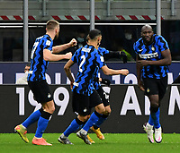 Football Soccer: Tim Cup Quarter Finals InternazionaleMIlan vs Milan, Giuseppe Meazza Stadium (San Siro) Milan, on January 26, 2021.<br /> Inter's Romelu Lukaku (r) celebrates after scoring with his teammates during the Italian Tim Cup  football match between Inter  and Milan at the Giuseppe Meazza stadium in Milan, January 26, 2021.<br /> UPDATE IMAGES PRESS/Isabella Bonotto
