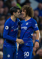 David LUIZ of Chelsea congratulates goalscorer Alvaro MORATA of Chelsea during the Premier League match between Chelsea and Crystal Palace at Stamford Bridge, London, England on 4 November 2018. Photo by Andy Rowland.<br /> .<br /> (Photograph May Only Be Used For Newspaper And/Or Magazine Editorial Purposes. www.football-dataco.com)