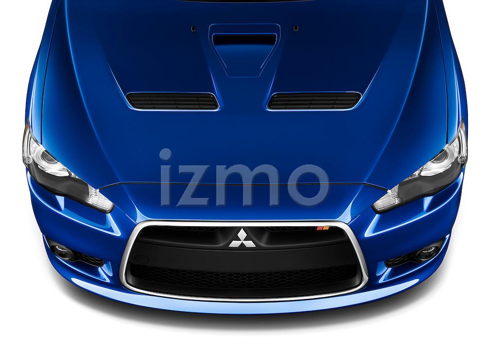 High angle view of a blue 2010 Mitsubishi Lancer Sportback