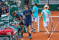 Paris, France, 01 June, 2018, Tennis, French Open, Roland Garros, Men's doubles: Matwe Middelkoop and Robin Haase (NED) background, play suspended<br /> Photo: Henk Koster/tennisimages.com