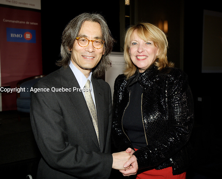 October 30 2011 - Montreal (Qc) CANADA -Christine Saint-Pierre, Quebec Cultural Affairs Minister (R) greet Kent Nagano (L) after he adressed the Canadian Club of Montreal