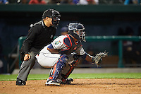 Umpire Arturo Gonzalez and Cedar Rapids Kernels catcher Brian Navarreto (21) during a game against the South Bend Cubs on June 5, 2015 at Four Winds Field in South Bend, Indiana.  South Bend defeated Cedar Rapids 9-4.  (Mike Janes/Four Seam Images)