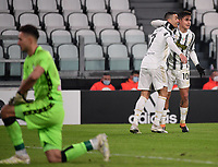 3rd January 2021, Allianz Stadium, Turin Piedmont, Italy; Serie A Football, Juventus versus Udinese; Cristiano Ronaldo of Juventus celebrates his goal with his teammate Paulo Dybala