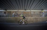 2012 Giro winner Ryder Hesjedal (CAN/Cannondale-Garmin) on his way to the start<br /> <br /> 2015 Giro<br /> st4: Chiavari - La Spezia (150km)