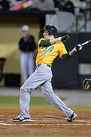 Siena Saints outfielder Dan Swain (22) hits a home run during the season opening game against the Central Florida Knights at Jay Bergman Field on February 14, 2014 in Orlando, Florida.  UCF defeated Siena 8-1.  (Mike Janes/Four Seam Images)