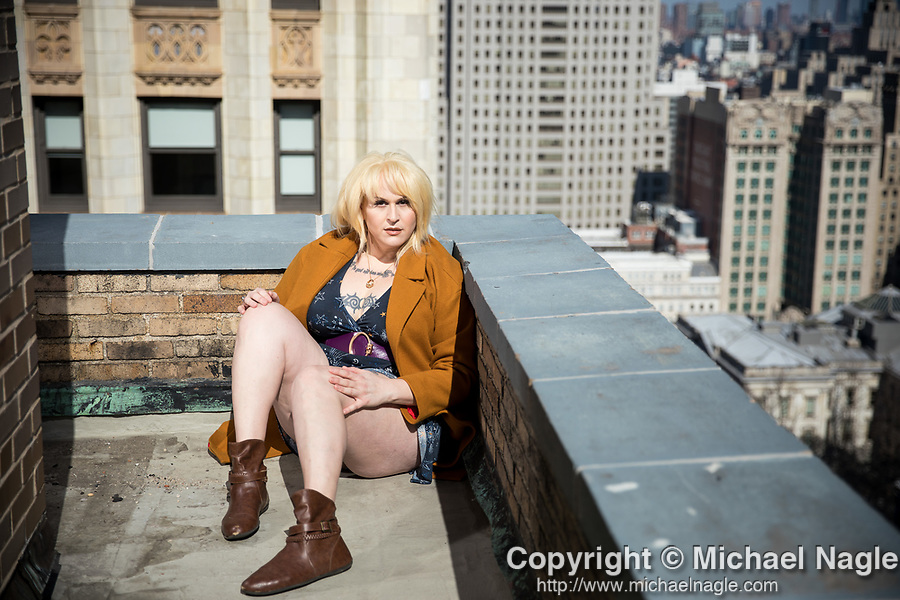 """NEW YORK, NY — MARCH 02, 2020:  Shakina Nayfack, actress and transgender activist, poses for a portrait ahead of the release of the new US dub of a cult favorite Japanese anime, """"Tokyo Godfathers,"""" in which she has a staring voice role, on March 2, 2020 in New York City.  PHOTOGRAPH BY MICHAEL NAGLE"""