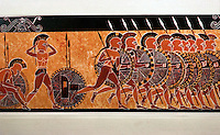Greek Art:  Hoplites charging, 7th C. Corinthian vase.