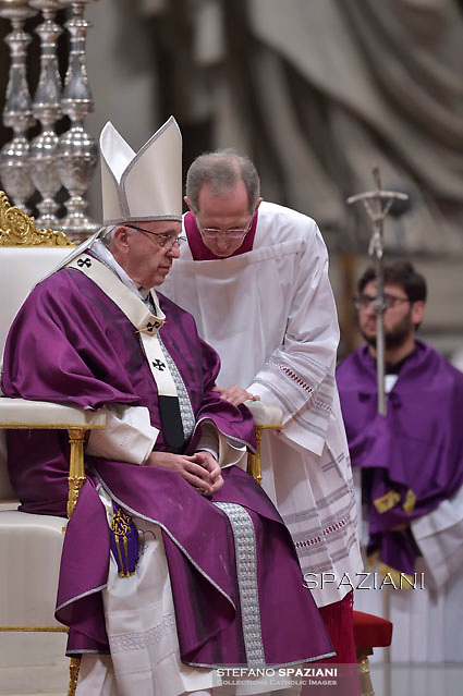 Pope Francis Monsignor Marini,leads the mass for Ash Wednesday, opening Lent, the forty-day period of abstinence and deprivation for the Christians, before the Holy Week and Easter on February,10, 2016