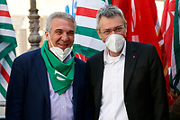 Luigi Sbarra, secretary of CISL and Maurizio Landini, secretary of CGIL trade union pose for photographers during the demonstration of the trade unions in Piazza Montecitorio .<br /> Rome (Italy), May 28th 2021<br /> Photo Samantha Zucchi Insidefoto
