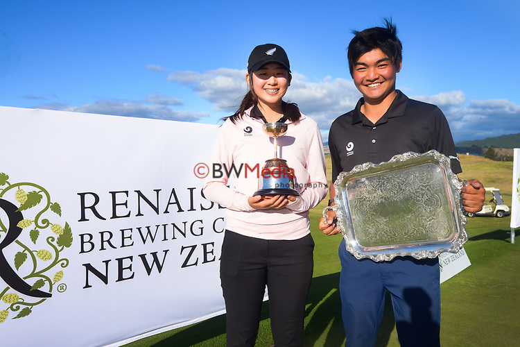 Amateur champions Vivian Lu and Kazuma Kobori. Day four of the Renaissance Brewing NZ Stroke Play Championship at Paraparaumu Beach Golf Club in Paraparaumu, New Zealand on Sunday, 21 March 2021. Photo: Dave Lintott / lintottphoto.co.nz
