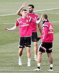 Real Madrid's Toni Kroos (l), Alvaro Arbeloa and Jese Rodriguez during training session.January 30,2015.(ALTERPHOTOS/Acero)