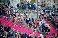 Philippe Gilbert (BEL/BMC) & teammates entering the Casino di San Remo via the pink carpet for the official Team Presentation<br /> <br /> Giro 2015 Official Team Presentation (in San Remo)