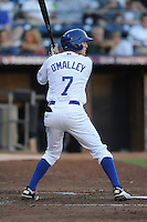 Durham Bulls second baseman Shawn O'Malley #7 swaits a pitch during a game against the Empire State Yankees at Durham Bulls Athletic Park on June 8, 2012 in Durham, North Carolina . The Yankees defeated the Bulls 3-1. (Tony Farlow/Four Seam Images).