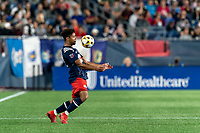 FOXBOROUGH, MA - SEPTEMBER 11: Brando Bye #15 of New England Revolution traps the ball during a game between New York City FC and New England Revolution at Gillette Stadium on September 11, 2021 in Foxborough, Massachusetts.