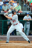 Oklahoma City Redhawks first baseman Mike Hessman #27 during the Triple-A All-Star game featuring the Pacific Coast League and International League top players at Coca-Cola Field on July 11, 2012 in Buffalo, New York.  PCL defeated the IL 3-0.  (Mike Janes/Four Seam Images)