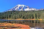 Fall shoreline of Reflection Lake, Mount Rainier National Park