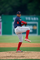 Lowell Spinners pitcher Kelvin Sanchez (35) during a NY-Penn League game against the Batavia Muckdogs on July 11, 2019 at Dwyer Stadium in Batavia, New York.  Batavia defeated Lowell 5-2.  (Mike Janes/Four Seam Images)