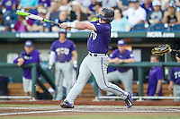 TCU Horned Frogs catcher Evan Skoug (9) swings the bat against the Vanderbilt Commodores in Game 12 of the NCAA College World Series on June 19, 2015 at TD Ameritrade Park in Omaha, Nebraska. The Commodores defeated TCU 7-1. (Andrew Woolley/Four Seam Images)