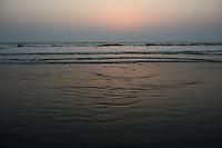 Bangladesh, Cox's Bazar Beach at sunset. The longest unbroken sea beach in the world running 75 miles.