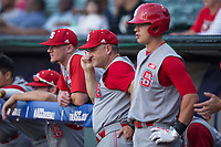 North Carolina State Wolfpack head coach Elliott Avent (center) watches the action from the dugout during the game against the North Carolina Tar Heels in Game Twelve of the 2017 ACC Baseball Championship at Louisville Slugger Field on May 26, 2017 in Louisville, Kentucky.  The Tar Heels defeated the Wolfpack 12-4 to advance to the semi-finals.  (Brian Westerholt/Four Seam Images)