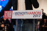 Des sympatisants au meeting de Benoit Hamon ‡ Paris ‡ l'institut National du Judo le 18 janvier 2017 dans le cadre de la primaire de la gauche