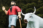 Paul Bunyan and the Blue Ox at the Trees of Mystery in Northern California.