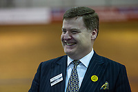 Pictured: Abolish the Welsh Assembly Party candidate Richard Suchorzewski during the Newport West by-election ballot count at the Geraint Thomas National Velodrome of Wales in Newport, South Wales, UK. <br /> Thursday 04 April 2019<br /> Re: Voters in Newport West are going to the polls to elect a new member of Parliament.<br /> The seat in south east Wales became vacant following the death of Paul Flynn earlier in February.