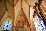 Deutschland, Bayern, Chiemgau, Uebersee, Weiler Westerbuchberg: Filialkirche St. Peter und Paul, innen | Germany, Bavaria, Chiemgau, Uebersee, hamlet Westerbuchberg: subsidiary church Saint Peter and Paul  - interior